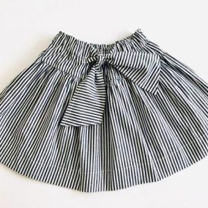 Saia laço 100% algodão listrada - Cinza e Branco